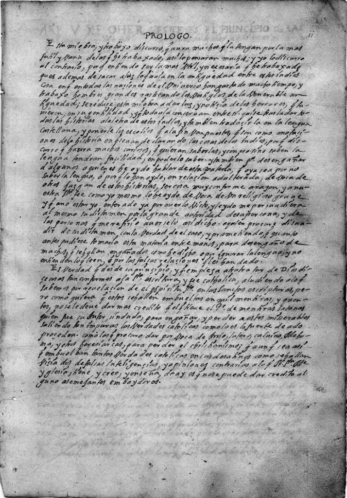 "Ximénez's Prologue from Ayer ms 1515 explaining his ecclesiastical purpose in conserving the ""Popol Vuh"" narrative"