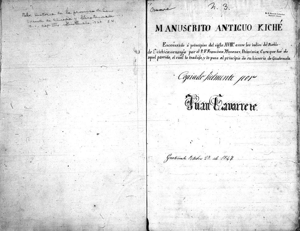 Manuscrito Antiguo Kiché (Juan Gavarrete's Copyscript of Historia de la provincia)