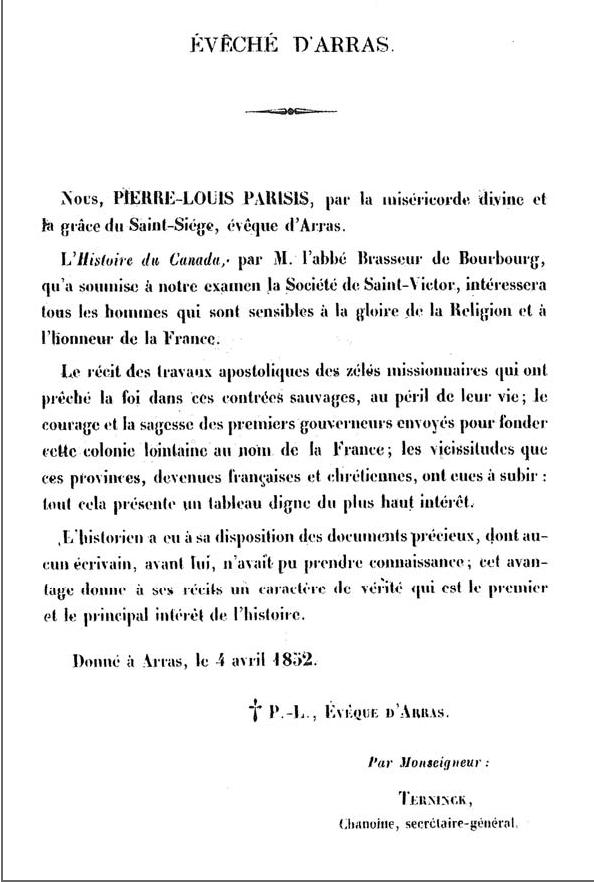 Figure 2 - Imprimatur from Histoire du Canada