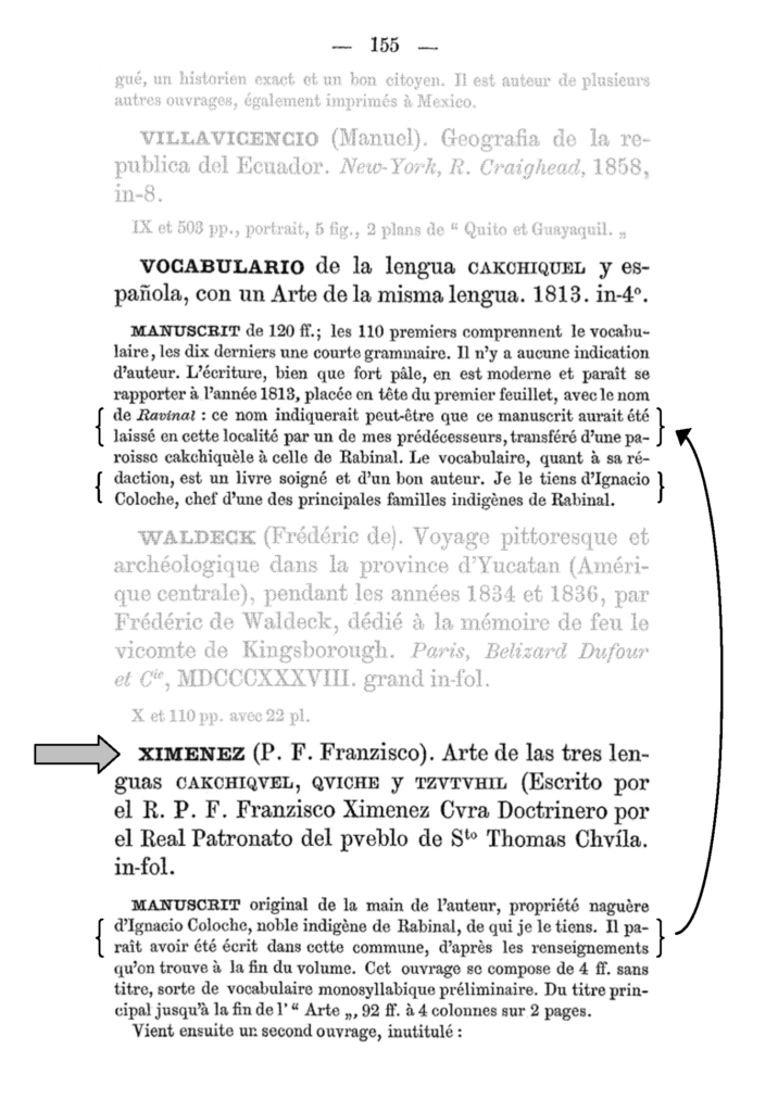 Figure 6 - Brasseur's purported provenance of Ayer ms 1515