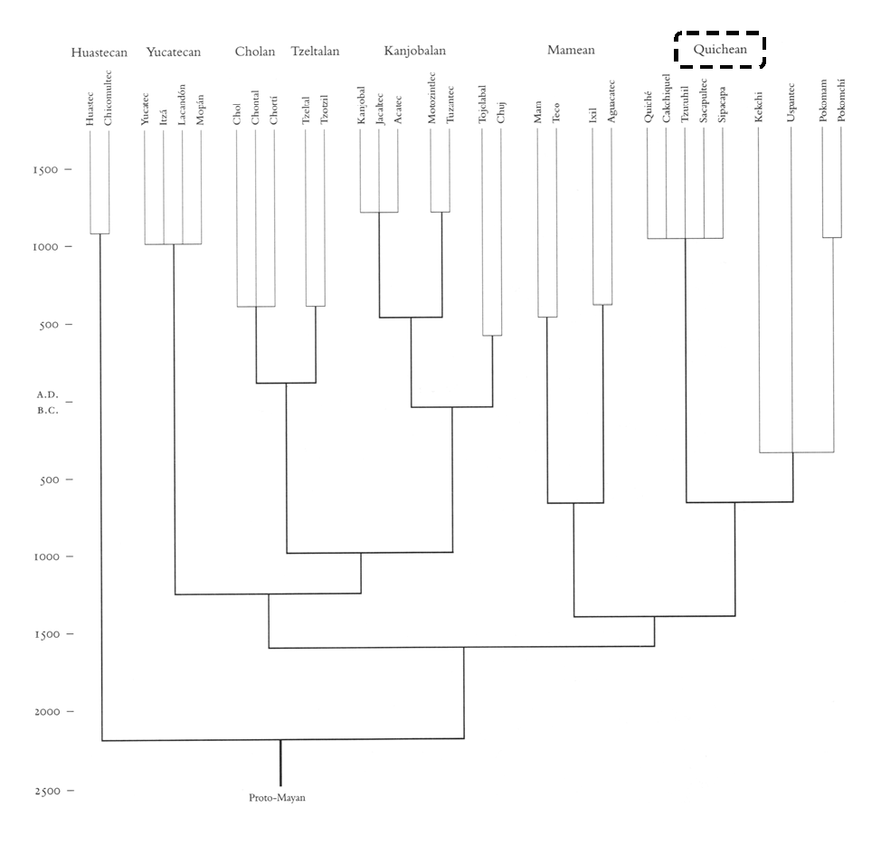 Figure 15 - Temporal schematic of Mayan languages (from Henderson 36)