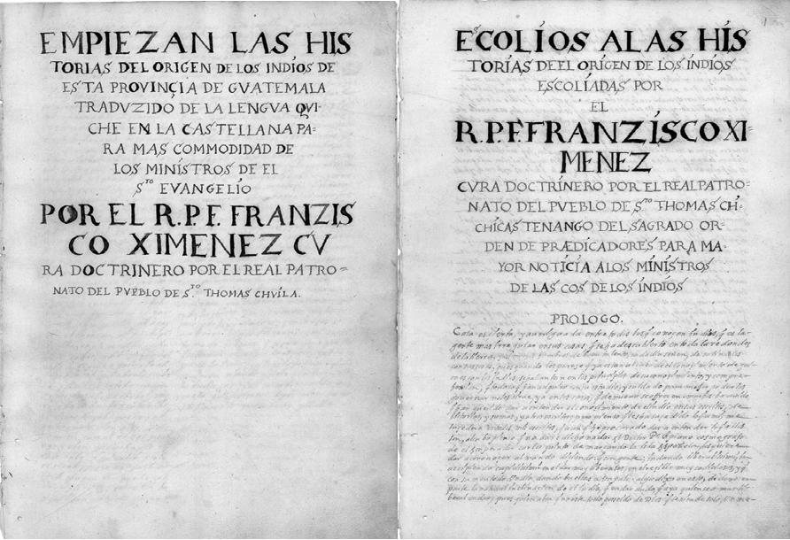 """Figure 16 - """"Popol Vuh"""" and Escolios title pages bearing Ximénez's name and title"""